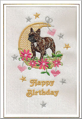French Bulldog Birthday Card Embroidered by Dogmania  - FREE -