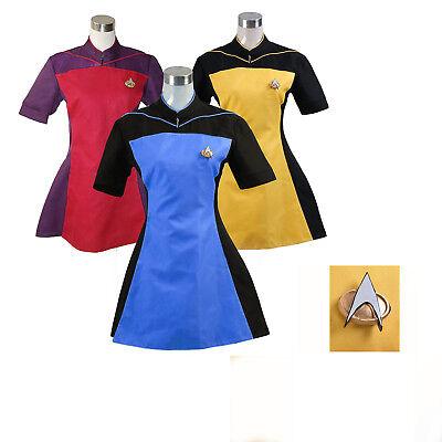 Star Trek TNG Skant Uniform Costume Cosplay Blue Yellow Red Dress Halloween (Star Trek Tng Halloween Costumes)
