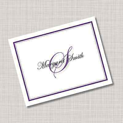 Personalized Purple Monogram Name Note Cards - Any Color! (Monogrammed Note)