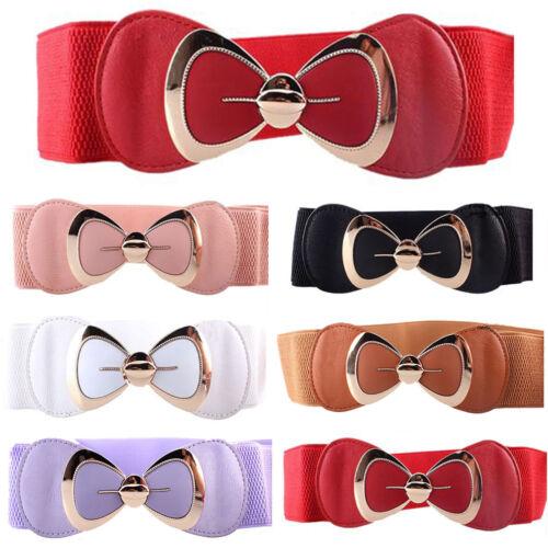 Women Stretch Buckle Waist Belt Bow Wide Elastic Dress Cinch