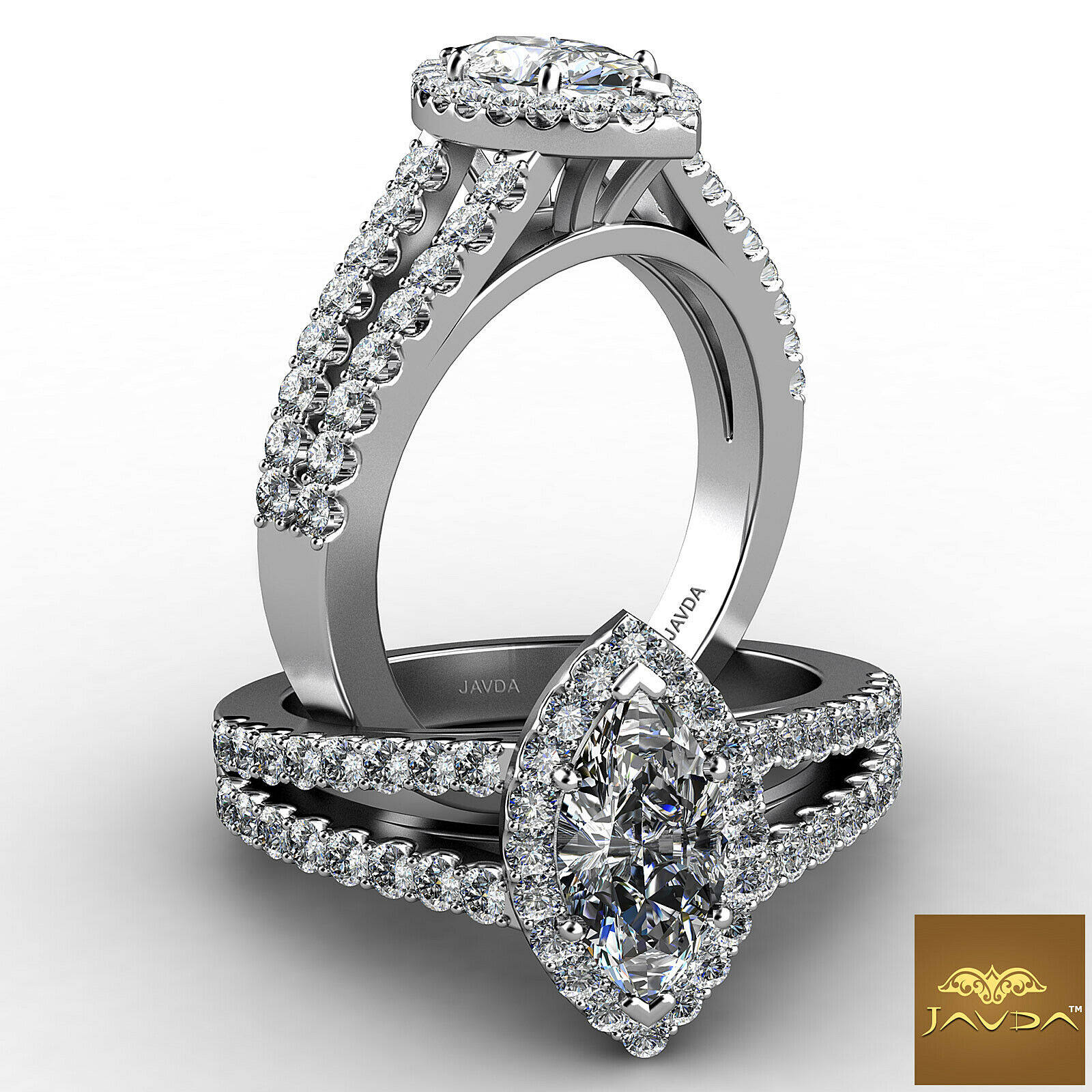1.65ct Shared U Prong Halo Marquise Diamond Engagement Ring GIA E-SI2 White Gold