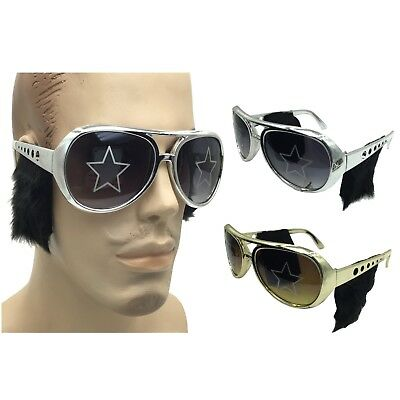 Elvis Presley Sideburns (Elvis Presley Sunglasses With Sideburns Costume Gold King Of Rock Roll Las)