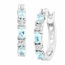 1 5/8 ct Natural Sky Blue Topaz Hoop Earrings w/ Diamonds in Platinum over Brass