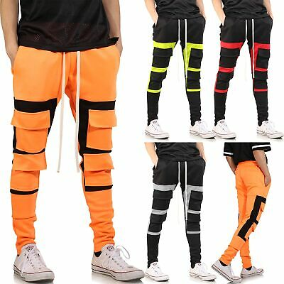 Mens Fashion Track Pants Square Block Stretch Skinny Fit Jogger Pants Casual