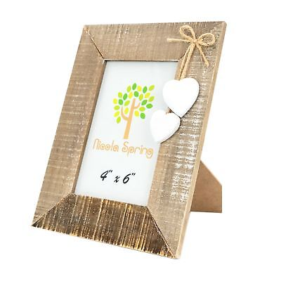 """Wooden Shabby Chic Rustic Driftwood Photo White Hearts Freestanding Frame-4x6"""""""