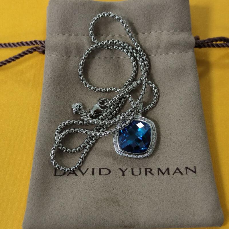 David Yurman Petite Albion Blue topaz Diamonds Sterling Silver Necklace