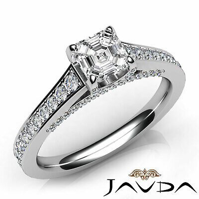 Bridge Accent Pave Setting Asscher Cut Diamond Engagement Ring GIA G VS1 1.25Ct