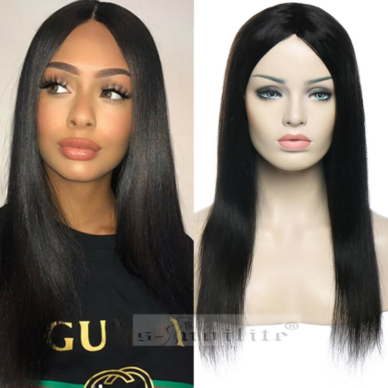 Details about Cheap glueless human hair wig women remy indian hair black  straight body wave 94b5a741d