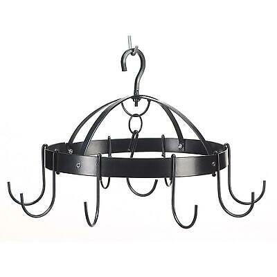 Small Round Black Metal Hanging Pot and Pan Rack - Kitchen Storage, Organization