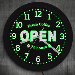 Fresh Coffee Open 24 Hours LED Neon Sign Decorative Wall Clock Coffee Shop Sign