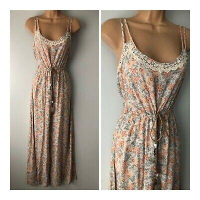Modern Pretty White Coral & Grey Floral Double Strap Tie Waist Jumpsuit 12-14