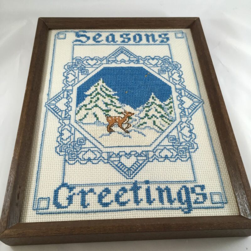 Vintage Sunset Designs Framed Cross Stitch Picture Seasons Greetings 1983