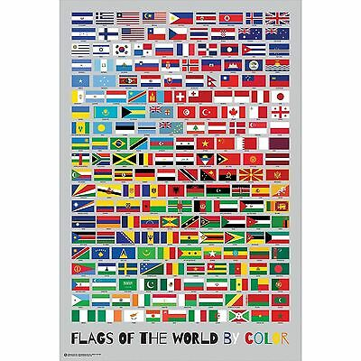 FLAGS OF THE WORLD - BY COLOR POSTER 24x36 - COUNTRIES 11110