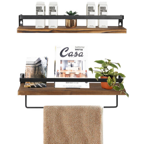 2PCS Floating Shelves Wall Mounted Storage Shelves for Kitchen Bathroom Brown Bookcases & Shelving