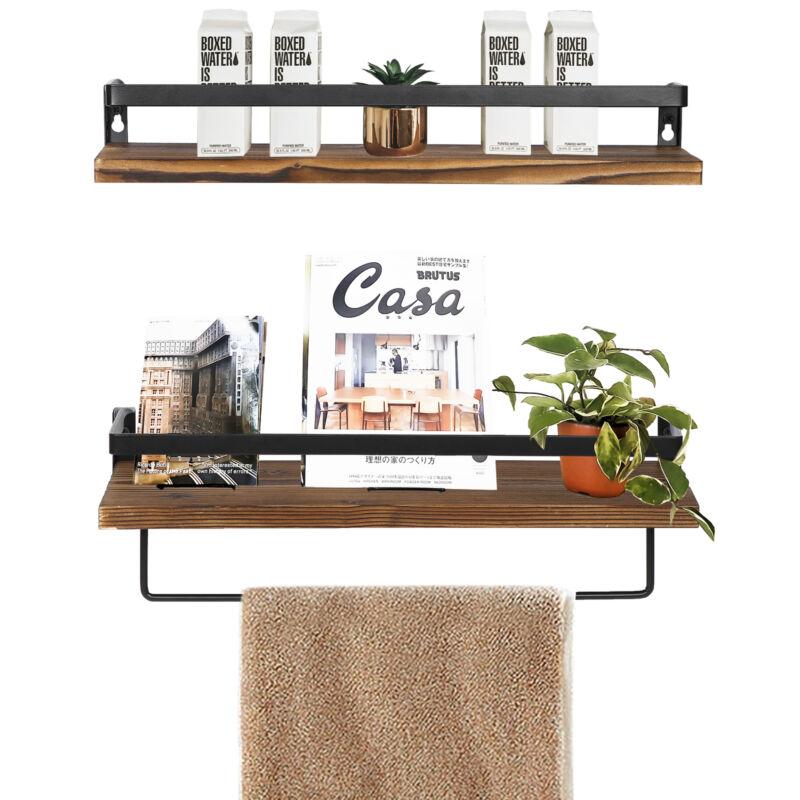 Set of 2 Floating Shelves Wall Mounted for Bedroom Bathroom Living Room Kitchen