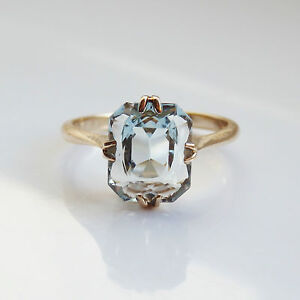 Stunning Antique Art Deco 9ct Gold Aquamarine Ring c1930; UK Ring Size 'I'