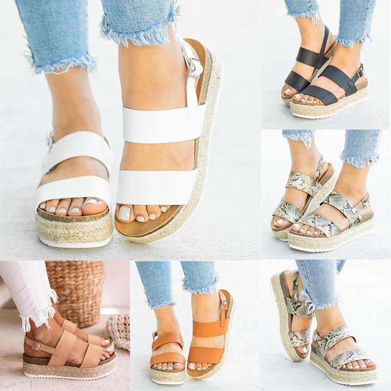 Women's Flatform Sandals Espadrille Ankle Strap Summer Peep