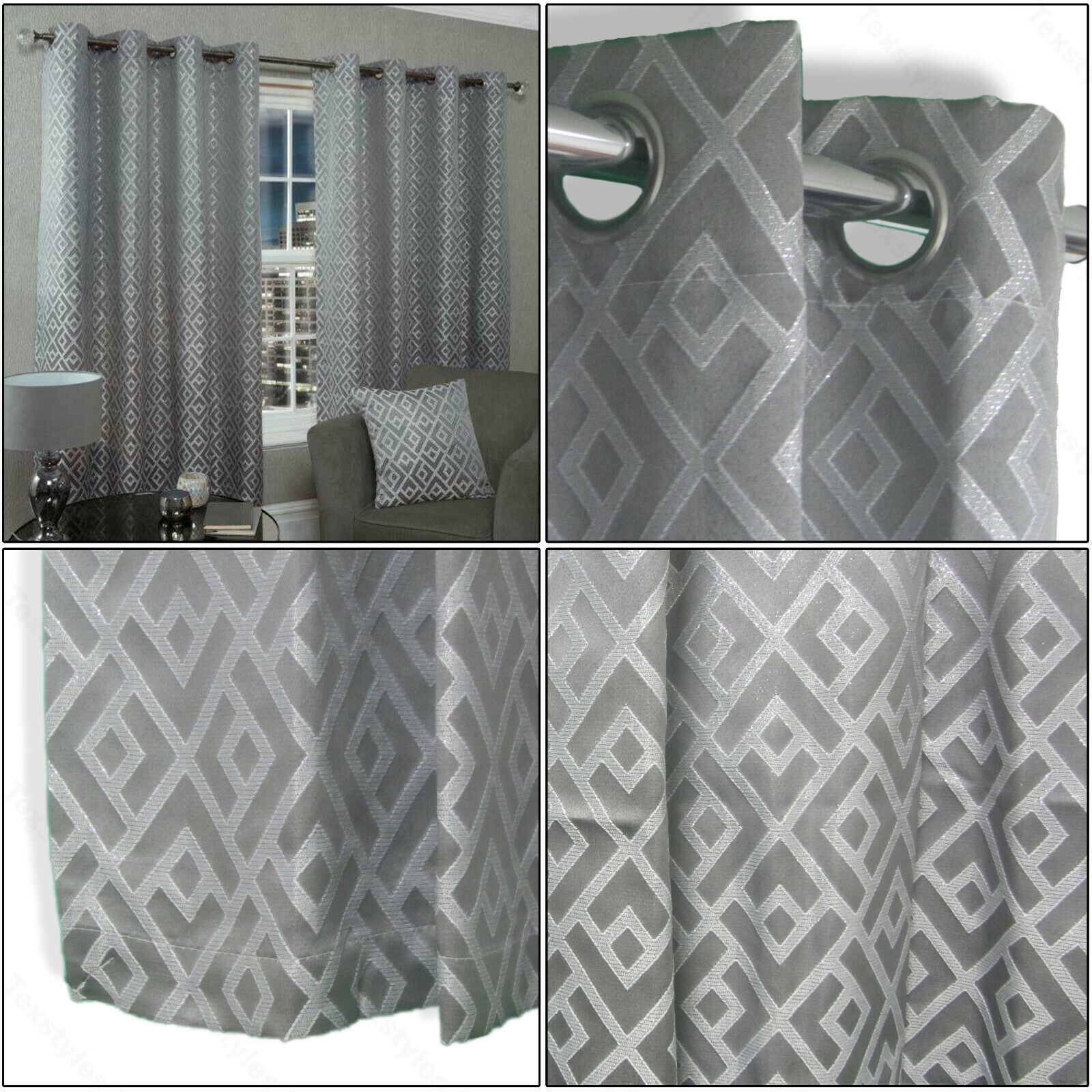 Silver Grey Curtains Geometric Shimmer Lined Eyelet Top