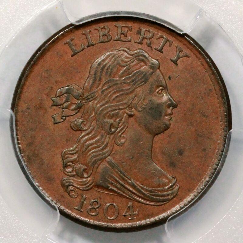 1804 C-9 Pcgs Ms 61 Bn Draped Bust Half Cent Coin 1/2c