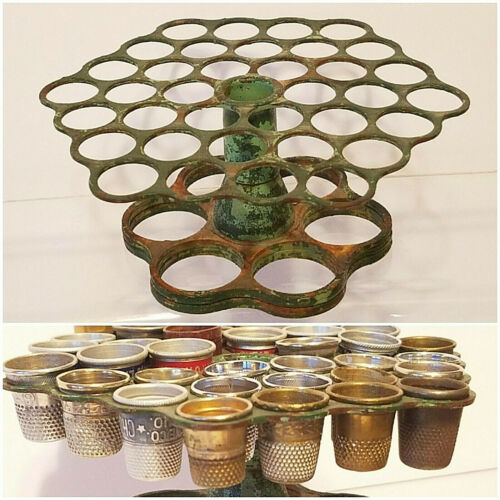 Antique METAL / IRON 36 Hole THIMBLE HOLDER Display Only (thimbles not included)