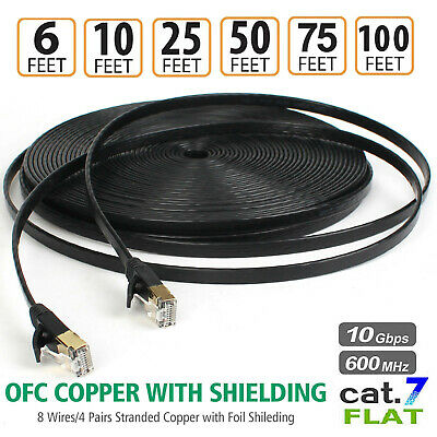 Category 6 Patch Cable - 3/6/75/100 FT Category 7 Cat7 Shielded STP Network Ethernet Patch Cable Cord LOT