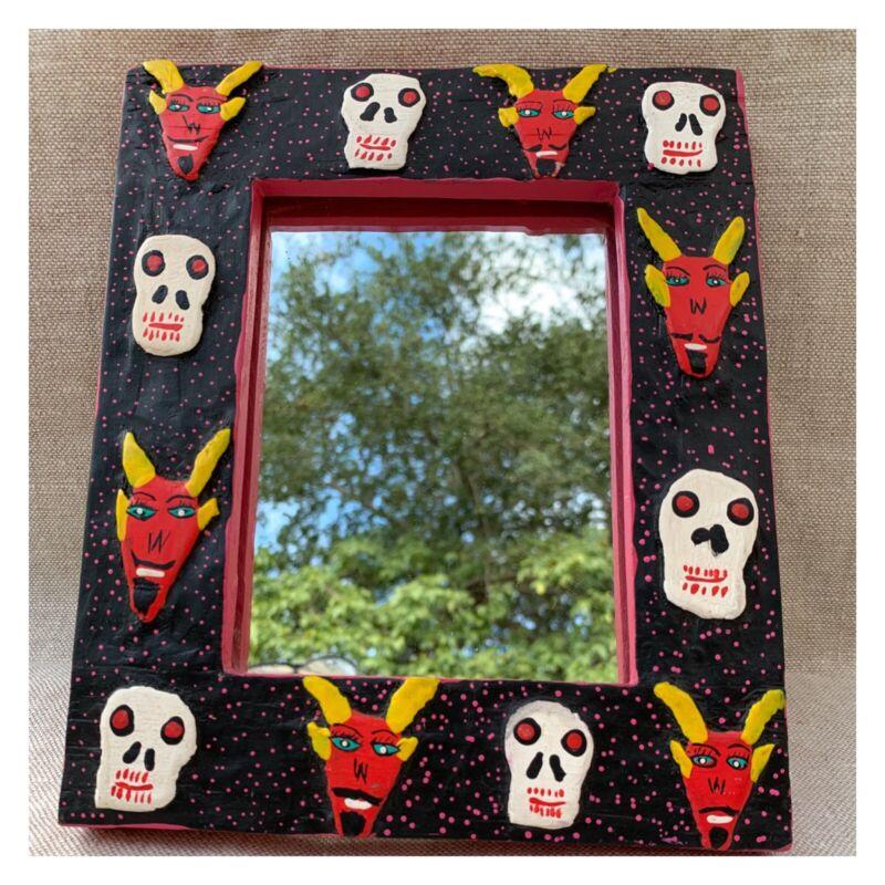 Mexican HP Carved Signed Vintage Skeletons Devils Day Of The Dead  Framed Mirror