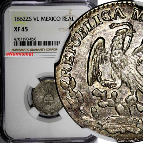 Mexico FIRST REPUBLIC 1862 Zs VL 1 Real NGC XF45 Zacatecas BETTER DATE KM#372.10