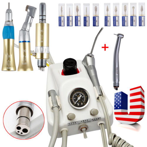 Dental Portable Air Turbine Unit+ High Speed +Low Speed Handpiece+Drill Burs DR.
