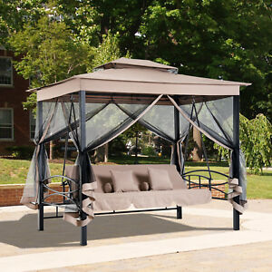 3 In 1 Patio Swing Gazebo Canopy Daybed Hammock Tent Outdoor Furniture
