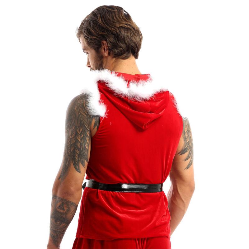 Men Christmas Vest Flannel Shorts Jacket Santa Claus Costume Faux Fur Trimming