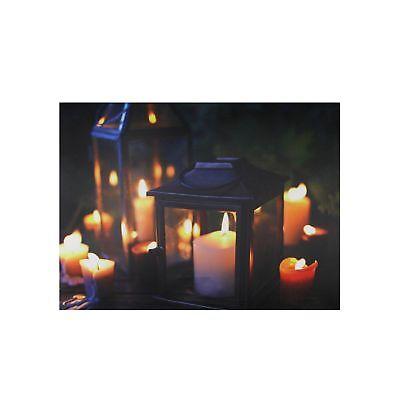 Northlight Led Lighted Flickering Garden Lantern Candles Scene Canvas Wall Ar...
