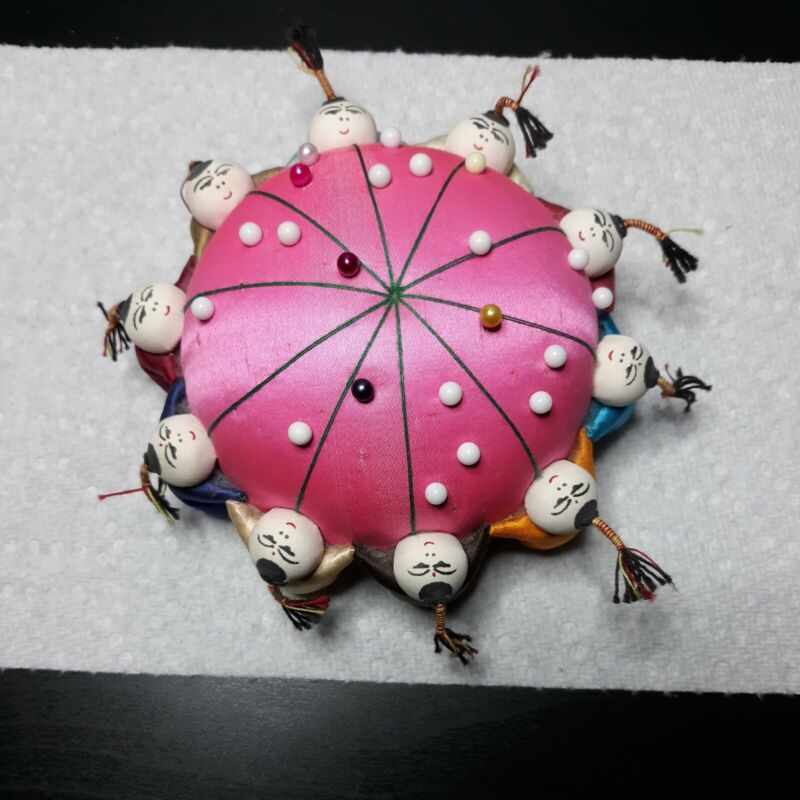 Vintage Chinese Silk Pin Cushion Pink 10 Asian Children Holding Hands Never Used