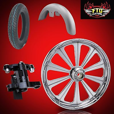 "Harley 30 inch Front End Big Wheel kit, Wheel, Tire, Neck, Fender, "" Redemption"""