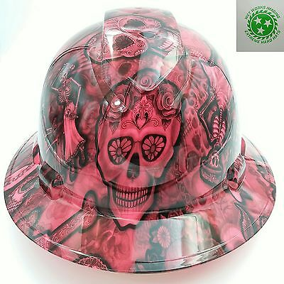 Hard Hat FULL BRIM custom hydro dipped , OSHA approved DAY OF THE DEAD PINK NEW