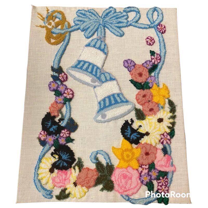"Vintage Punch Needle Embroidery Wedding Bells Flowers 11"" x 14"" Muslin Unframed"