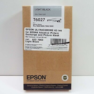 07-2018 GENUINE EPSON T6027 LIGHT BLACK INK PRO 7800 7880 9880 (NEW) J2400 for sale  Quebec