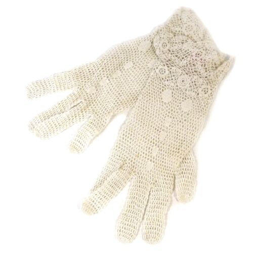 Pair of Victorian Lovely Lace White Gloves size Small