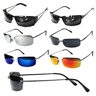 Schmale Herren Sonnenbrille Rechteckig Verspiegelt Agent Smith Neo Rennec M5