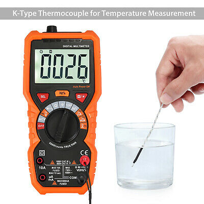 Trms Digital Multimeter 6000counts Acdc Auto Range Voltage Current Meter Tester