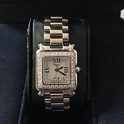 authentic chopard happy sport diamonds square stainless steel women's watch