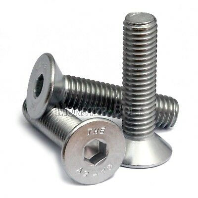 M6 - 1.00 Stainless Steel Flat Head Socket Caps Screws Din 7991 A2 Allen Hex