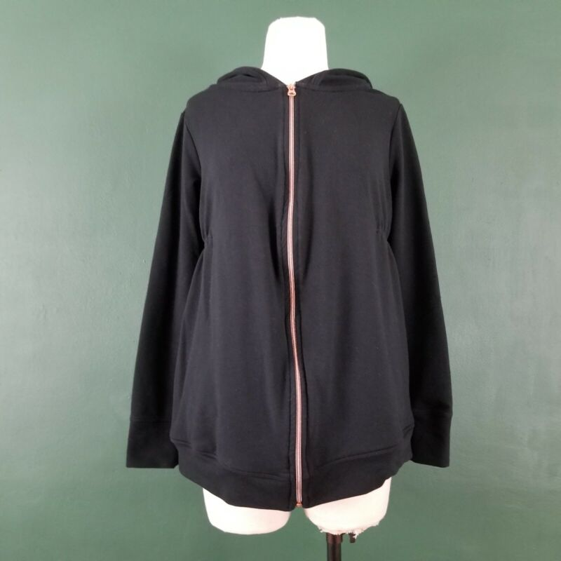 Isabel Maternity Long Hoodie Sweatshirt Sz S Black Rose Gold Zipper Ruched