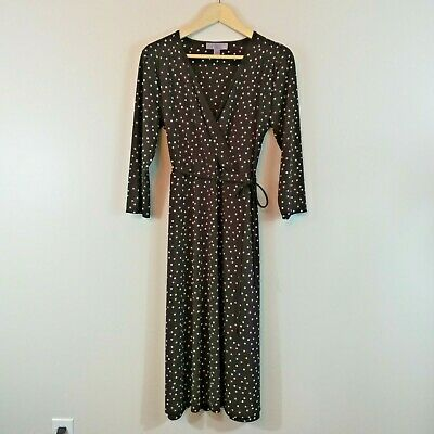 Nine & Co. Dress Size Large Faux Wrap Polka Dot Career Casual Gathered - Co Faux Wrap Dress