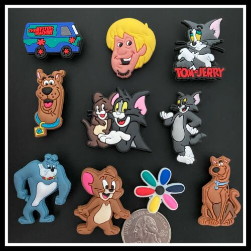Set of 10 Shoe Charms for Crocs TOM & JERRY SCOOBY DOO Shaggy Mystery Machine