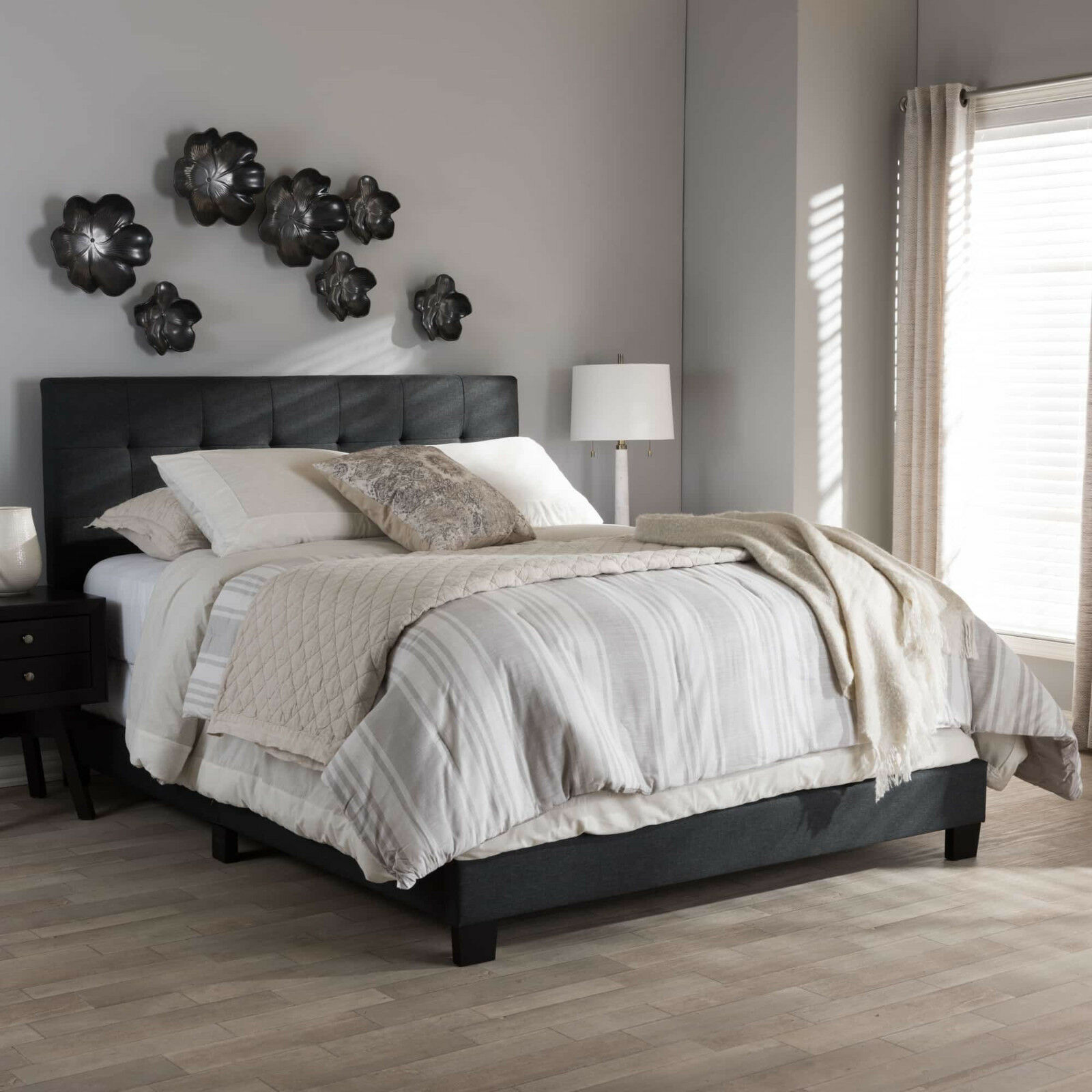 Queen Size Bed Frame Platform Bedroom Charcoal Gray Upholstered Stable Headboard