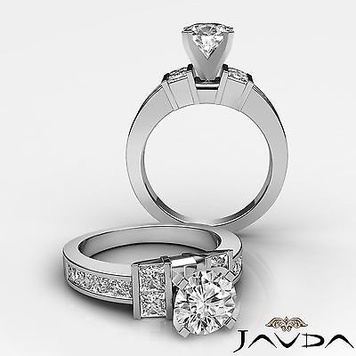 4 Prong Channel Invisible Set Round Cut Diamond Engagement Ring GIA F SI1 2 Ct