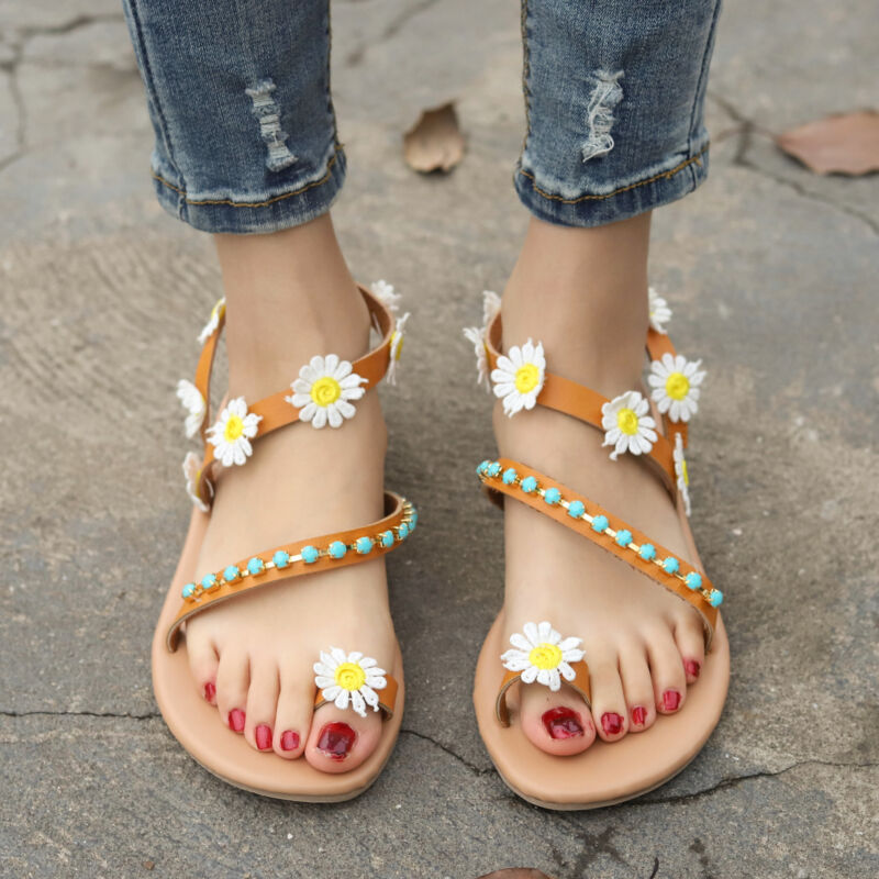 d1647daca Women Bohemian Flat Sandals Toe Ring Rhinestone Tassel Summer Beach Casual  Shoes - inkFrog