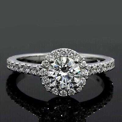 1.90 Ct Halo Round Cut U-Setting Diamond Engagement Ring H Color VS2 GIA 3x Ex 2