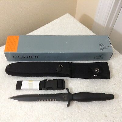 NOS Gerber Mark II Double Serrated Fixed Knife combat daggar black with box