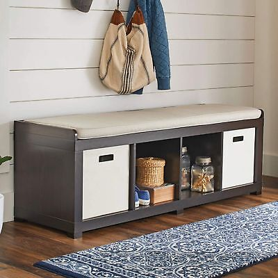 Entryway Storage Organizer Bench Room Cushion Sitting Furniture Upholstered